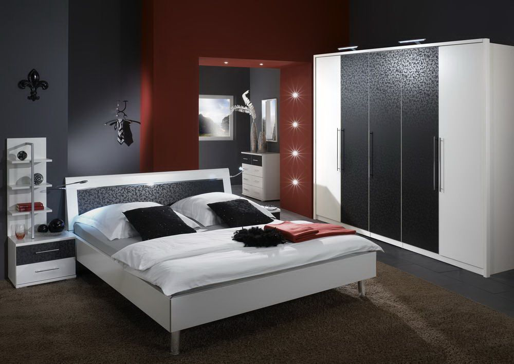 sunny von wiemann schlafzimmer wei schwarz online kaufen betten kleiderschr nke und. Black Bedroom Furniture Sets. Home Design Ideas