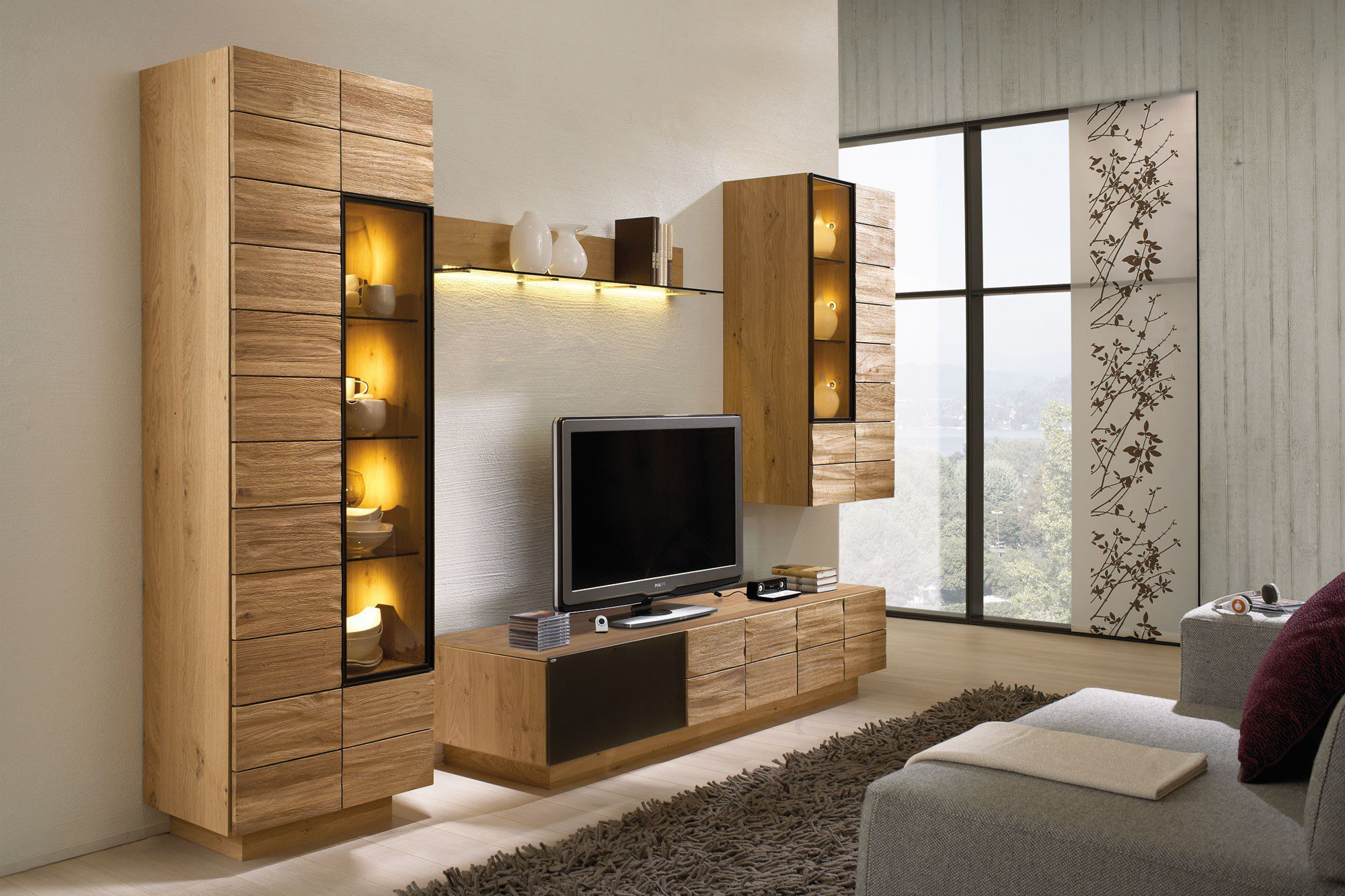 wohnwand v montana in kernbuche 173 von voglauer m bel letz ihr online shop. Black Bedroom Furniture Sets. Home Design Ideas