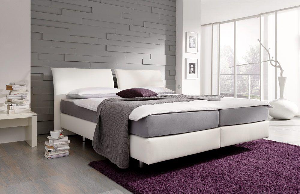 boxspringbett couture von femira in wei em kunstleder. Black Bedroom Furniture Sets. Home Design Ideas