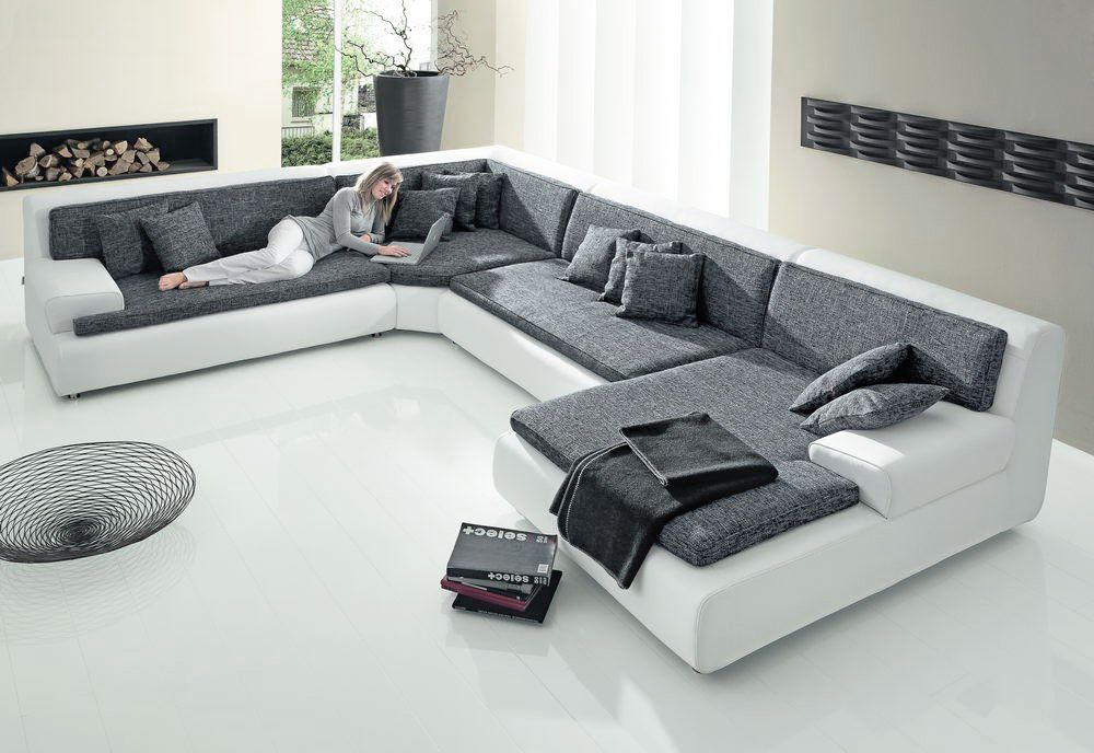 exit iii von new look wohnlandschaft wei anthrazit. Black Bedroom Furniture Sets. Home Design Ideas
