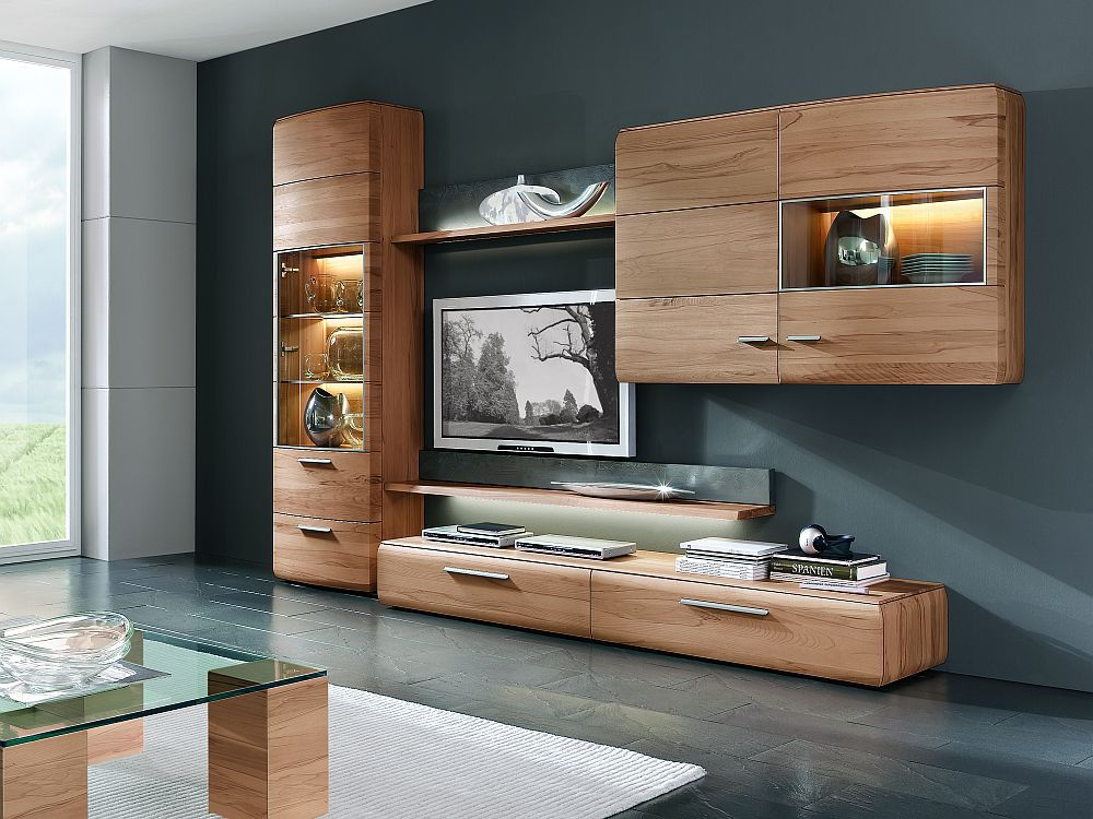 wohnwand trento von hartmann in kernbuche massiv nr 30 m m. Black Bedroom Furniture Sets. Home Design Ideas