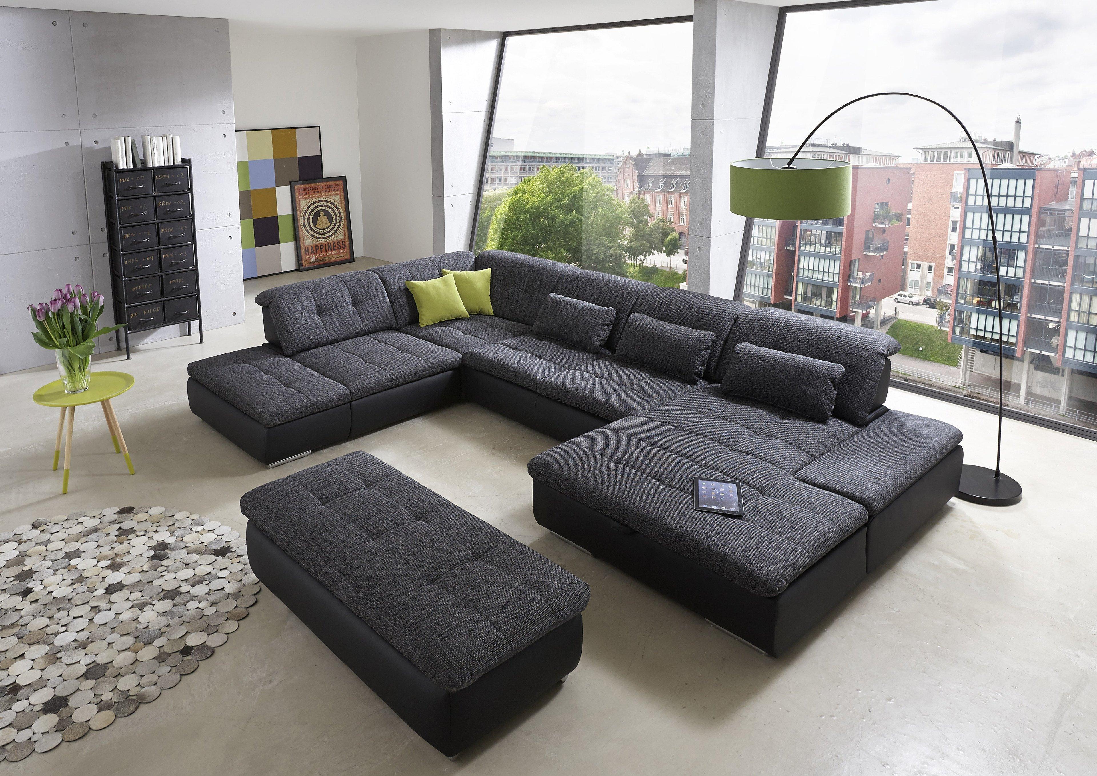 wohnlandschaft lomo linos schwarz von megapol m bel letz ihr online shop. Black Bedroom Furniture Sets. Home Design Ideas
