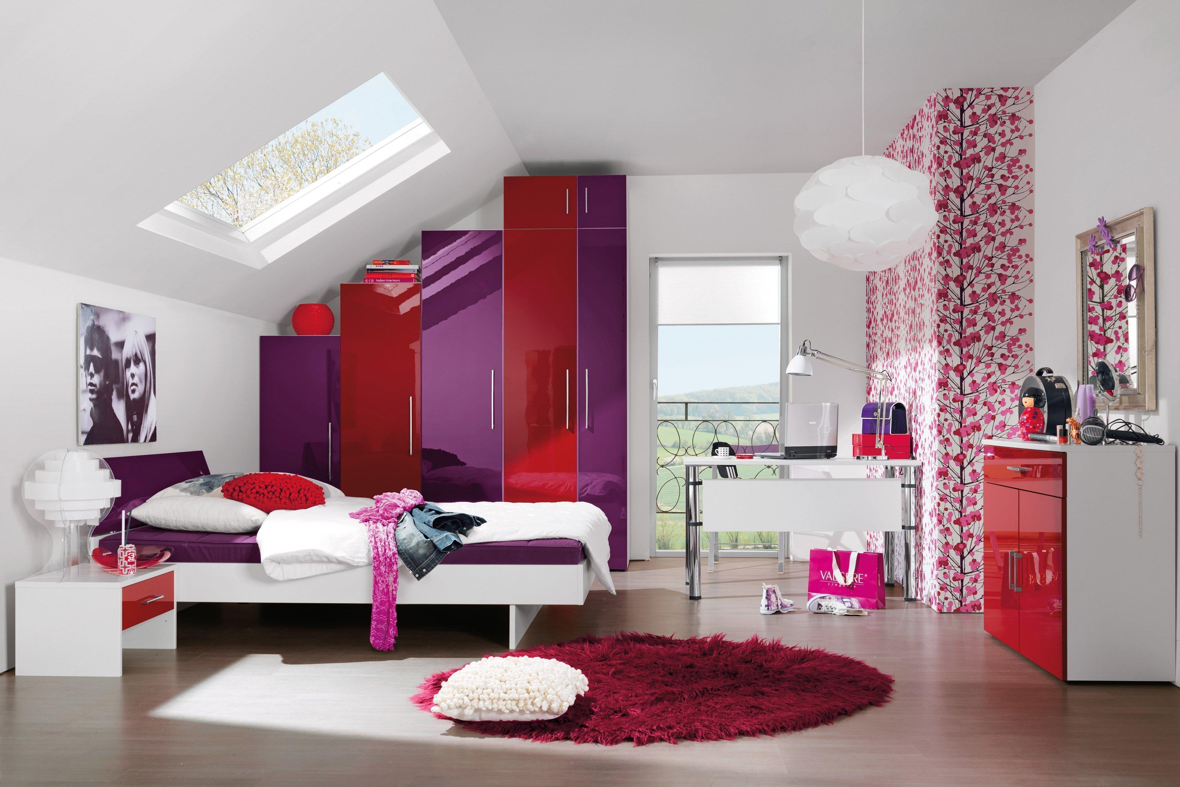 jugendzimmer jugendwunder von wellem bel in wei und rot lila m bel letz ihr online shop. Black Bedroom Furniture Sets. Home Design Ideas