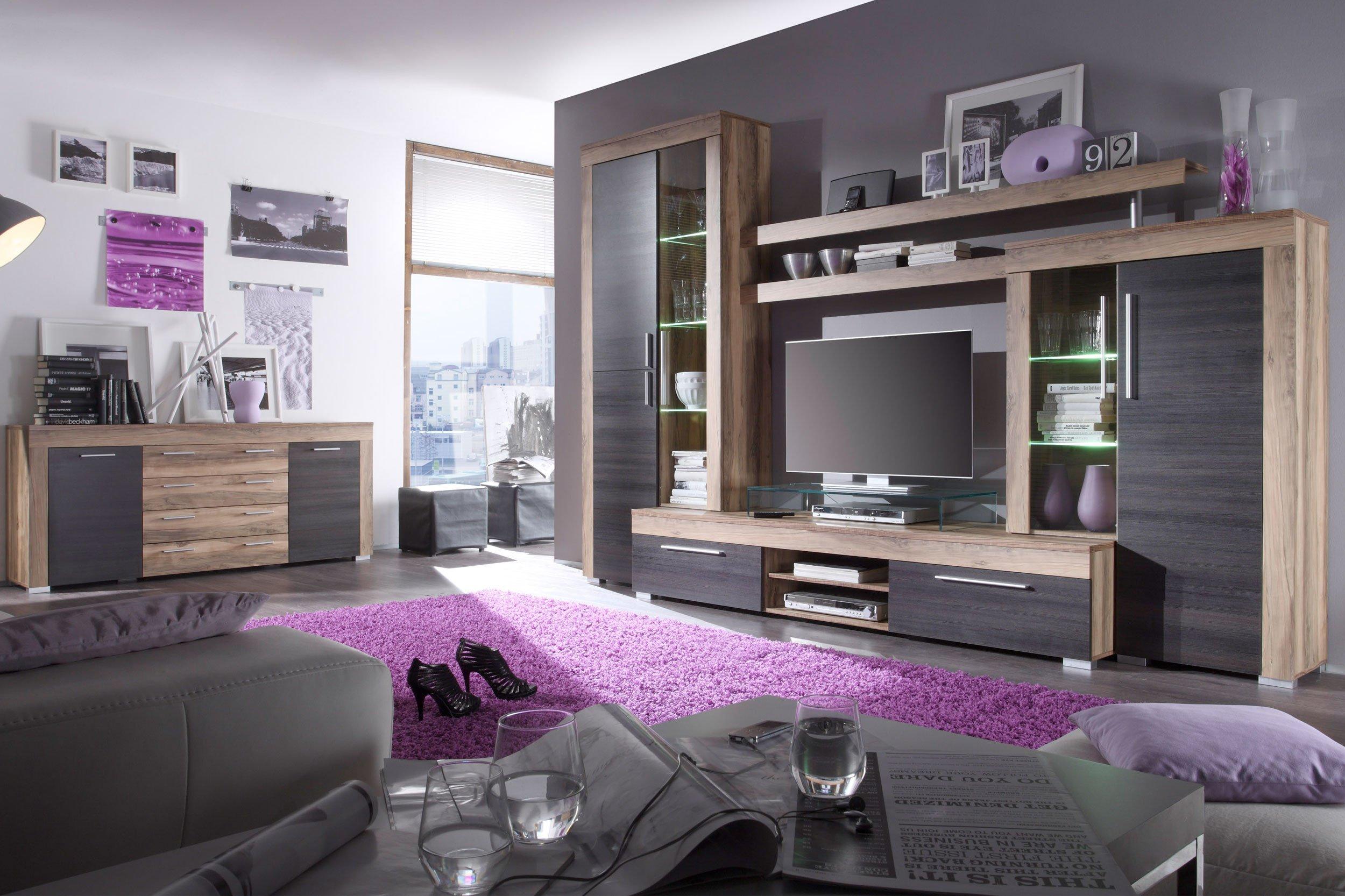wohnwand ii boom crash nussbaum von trendteam m bel letz ihr online shop. Black Bedroom Furniture Sets. Home Design Ideas