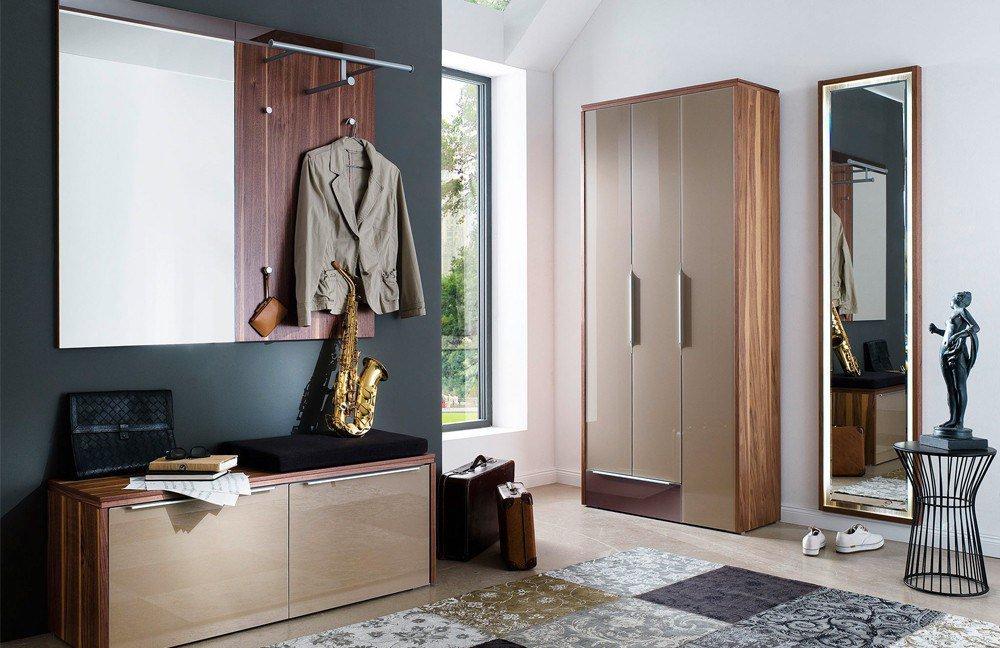 Wittenbreder garderobe multi color gloss braun nussbaum for Garderobe nussbaum schwarz