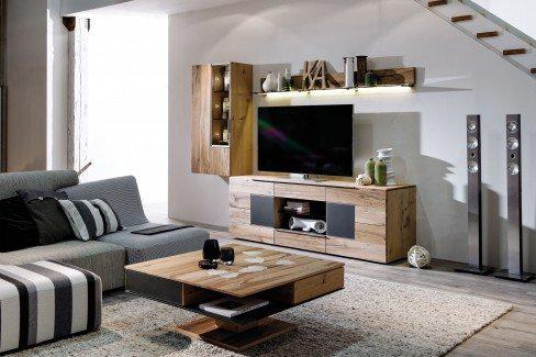 voglauer wohnwand v alpin 168 eiche altholz anthrazit. Black Bedroom Furniture Sets. Home Design Ideas