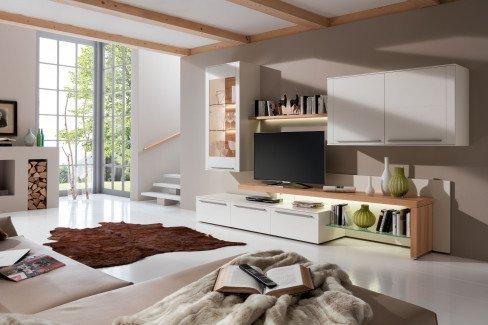 Bellano von Gwinner - Wohnwand BE01 weiß/ Balkeneiche