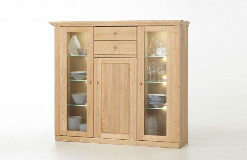 mca furniture highboard verona eiche ge lt glas grau m bel letz ihr online shop. Black Bedroom Furniture Sets. Home Design Ideas