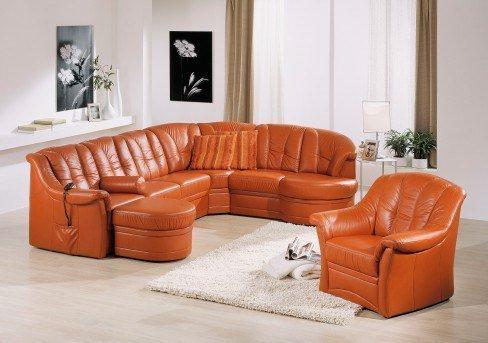 pm oelsa sandy echtledersofa in orange m bel letz ihr online shop. Black Bedroom Furniture Sets. Home Design Ideas