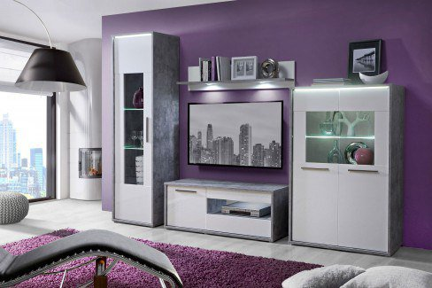 forte m bel wohnwand lonna betonoptik wei hochglanz. Black Bedroom Furniture Sets. Home Design Ideas