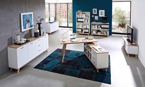 GW-Oslo von Germania - Schreibtisch mit Regal weiß-Sanremo Eiche