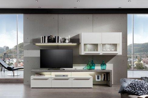 gwinner wohnwand bellano wei betonoptik m bel letz ihr online shop. Black Bedroom Furniture Sets. Home Design Ideas
