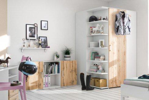 cadre von Röhr-Bush - Jugendzimmer-Wohnwand weiß - Votan-Eiche