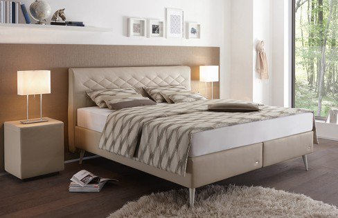ruf adessa boxspringbett in beige mit rautensteppung am. Black Bedroom Furniture Sets. Home Design Ideas