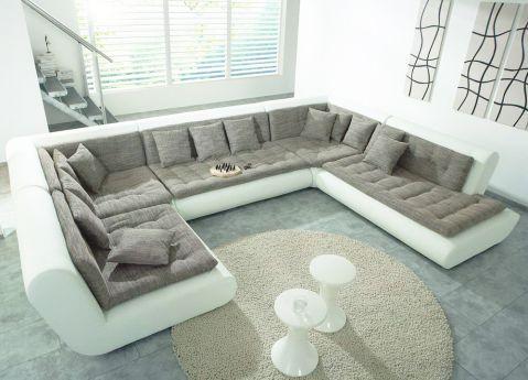 new look m bel exit i sofalandschaft grau wei m bel letz ihr online shop. Black Bedroom Furniture Sets. Home Design Ideas