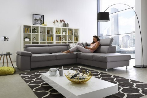 polinova calisto l campino l ledergarnitur in grau m bel letz ihr online shop. Black Bedroom Furniture Sets. Home Design Ideas