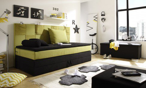 black red white boxspringbett kid pocket in schwarz gr n. Black Bedroom Furniture Sets. Home Design Ideas