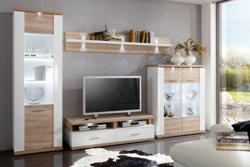 Manhattan von IDEAL Möbel - Wohnwand 2B weiß/ graphit