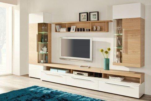 skandinavische m bel wohnwand agda mit beleuchtung m bel letz ihr online shop. Black Bedroom Furniture Sets. Home Design Ideas