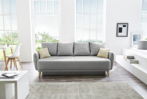 skandinavisches schlafsofa viana grau mit zierkissen. Black Bedroom Furniture Sets. Home Design Ideas
