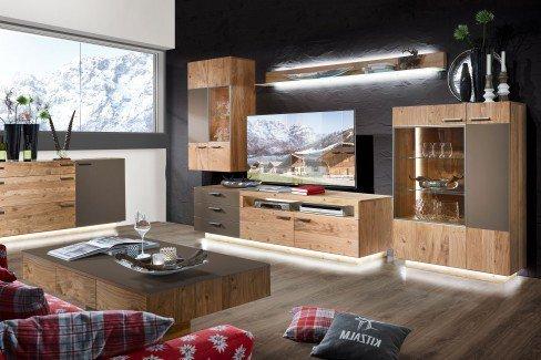 Kitzalm Montana von Schröder - Wohnwand K001 Kernasteiche/ grau