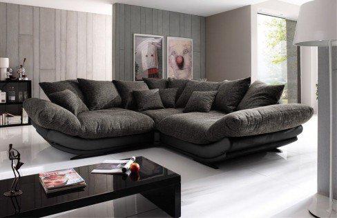 new look m bel rose ecksofa in schwarz braun m bel letz ihr online shop. Black Bedroom Furniture Sets. Home Design Ideas