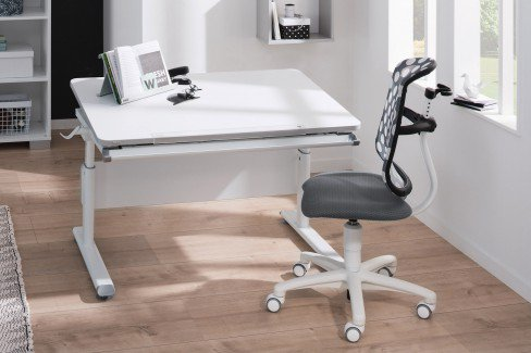 Diego 130 GT von Paidi - Schreibtisch mit geteilter Platte weiß