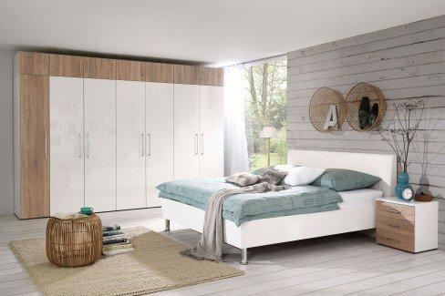KSW Von Wellemöbel   Schlafzimmer Weiß Hochglanz   Wildeiche