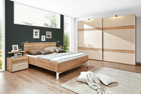 Cadiz von Disselkamp - Schlafzimmer Balkeneiche Hochglanz taupe