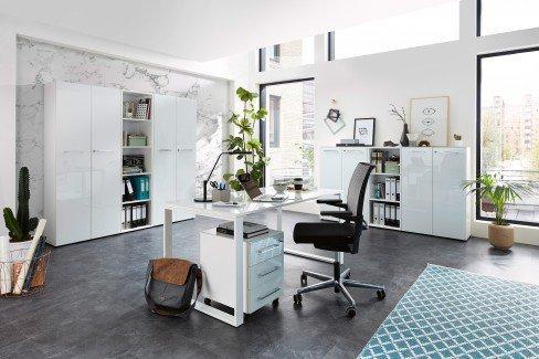 GW-Monteria von Germania - Büromöbel-Set weiß mit Glasfronten