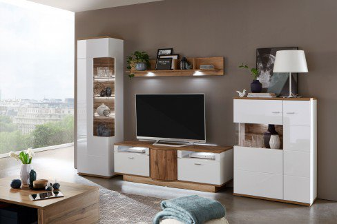 Magic von IDEAL Möbel - Wohnwand 26 weiß/ Eiche Wotan