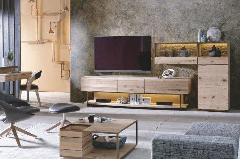 V-Cube living von Voglauer - Wohnwand 155 Wildeiche/ bronze