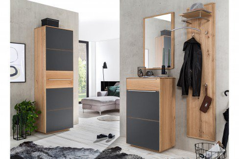 Novum von Bienenmühle - Garderobe aus Wildeiche/ Glas schwarz