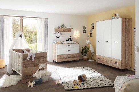 Ronny von BEGABINO - Babyzimmer 3-teilig Old Style hell - weiß