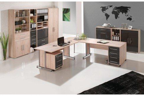 System von Maja Möbel - Büromöbel Sonoma Eiche-Hochglanz weiß