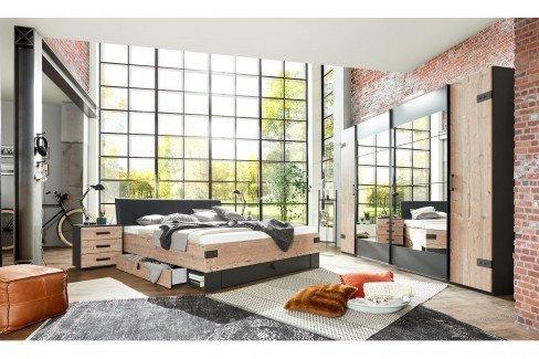 Stockholm von Wimex - 4-teiliges Schlafzimmer Industrial Style