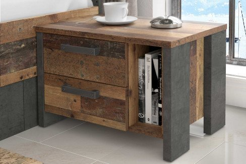 Clif Binou von Forte - Schlafzimmer-Set Old Wood Vintage - grau
