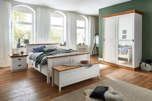 Bergen von Jumek Möbel - Landhaus Schlafzimmer-Set weiß-braun