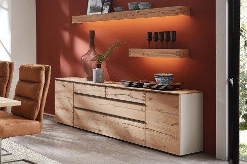 Die Hausmarke Light Line 6 - Wohnwand 01 Asteiche/ weiß matt
