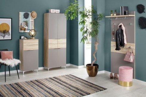 Shino von Maja Möbel - Garderobe in Eiche natur & Weißglas