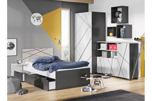 X Dark von Meblik - 5-teiliges Jugendzimmer-Set mit 3D-Gravur