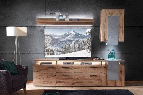 Kitzalm St. Moritz von Schröder - Wohnwand K001 Alteiche/ Beton