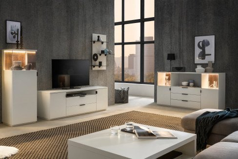 Modena von Quadrato - Sideboard Lack weiß/ Altholz