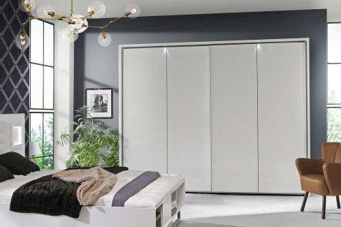 Jokaza von Forte - Schlafzimmer weiß Hochglanz: Schrank & Bettanlage