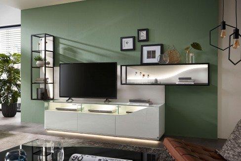 CURVE von LEONARDO living - Highboard nero/ Nussbaum