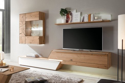 Moras von Lebenswert - Wohnwand Asteiche/ weiß