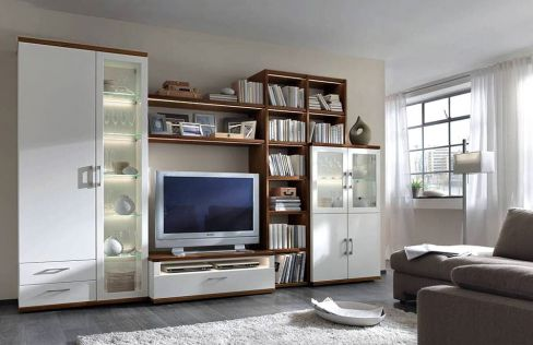 wohnwand celona 3000 wallas lack bianco mit nussbaum w stmann designm bel m bel letz ihr. Black Bedroom Furniture Sets. Home Design Ideas