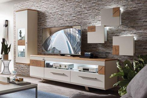Die Hausmarke Light Line 3 - Wohnwand mit Hirnholzapplikationen