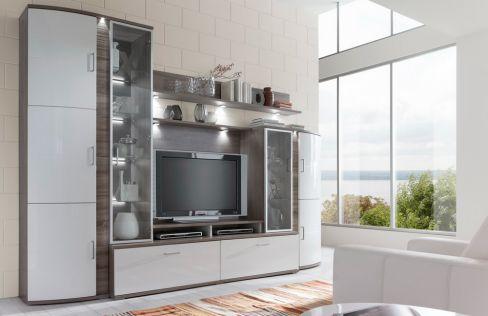 wohnwand teno 100 in eiche tr ffel wei von ideal m bel m bel letz ihr online shop. Black Bedroom Furniture Sets. Home Design Ideas