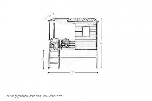 h ttenzauber von infanskids halbhohes bett kiefer massiv. Black Bedroom Furniture Sets. Home Design Ideas